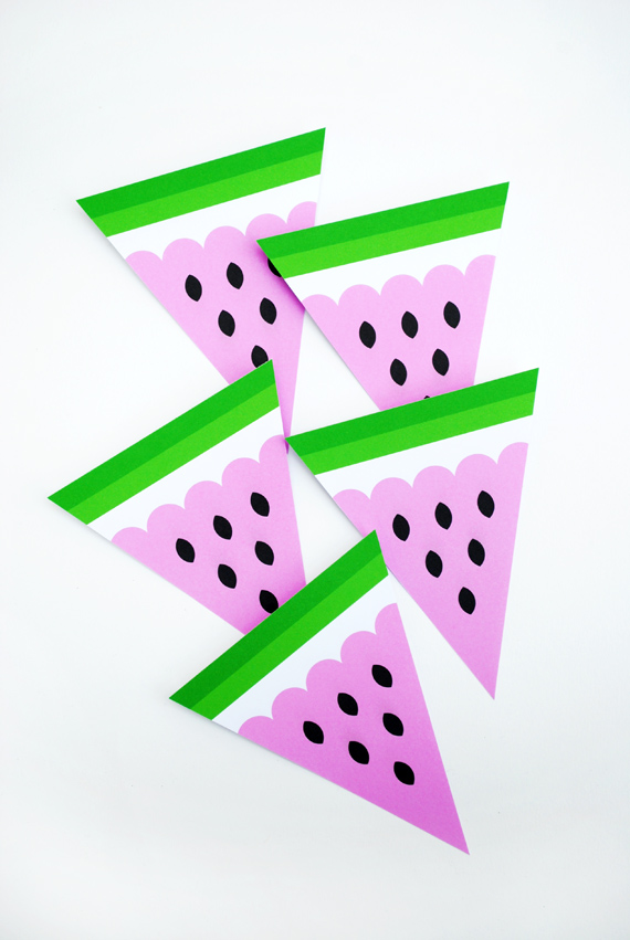 watermelon bunting template 3d fruit mini eco