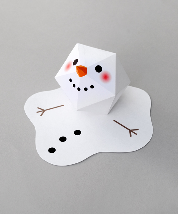 image about Free Printable Paper Crafts referred to as Melting paper snowman MINI ECO