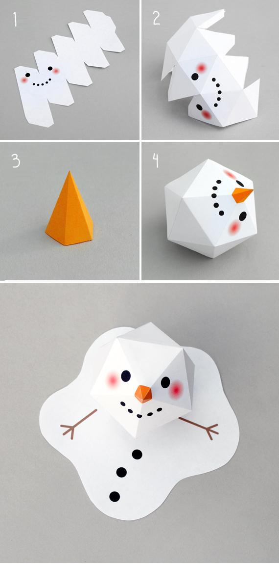 Melting paper snowman