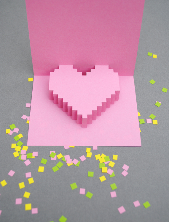Valentines day} pixelated popup card | Minieco