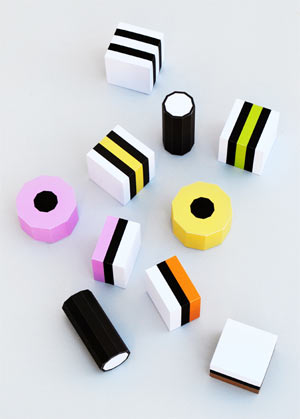Paper liquorice allsorts
