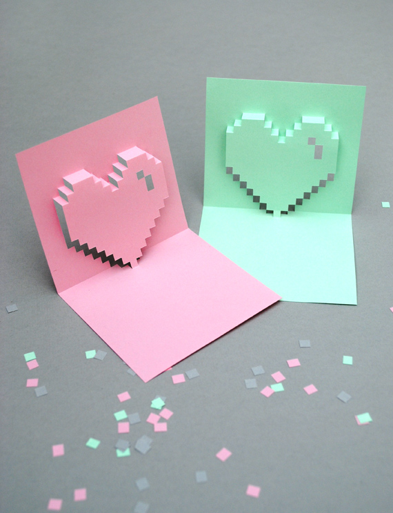 mini-eco's popup pixel valentine's card
