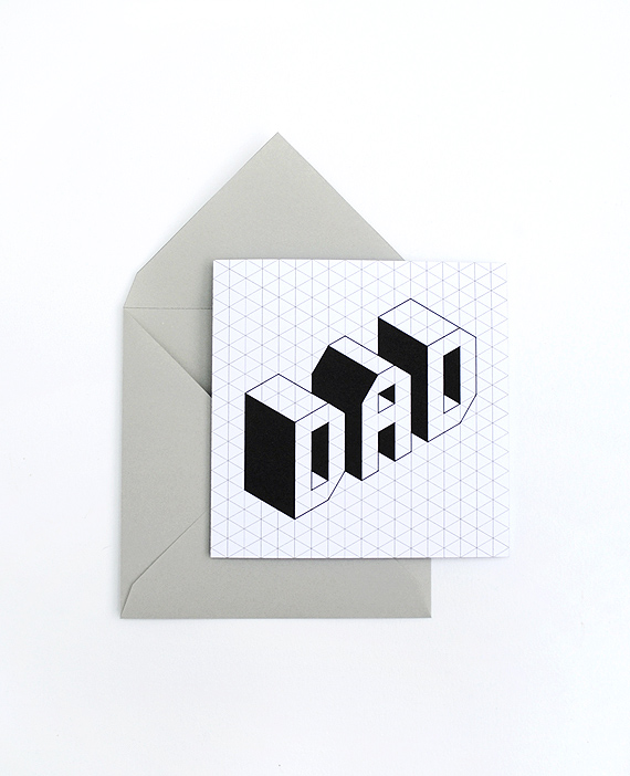 Father's day card // Isometric font // free printable
