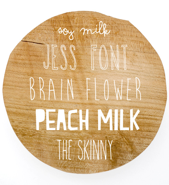 Fonts: Soy milk // Jess Font // Brain Flower // The Skinny // Peach Milk