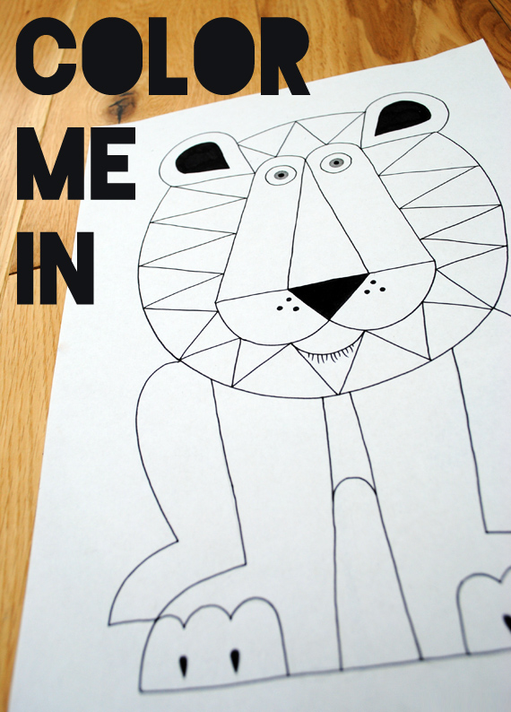 Lion 'color-me-in'