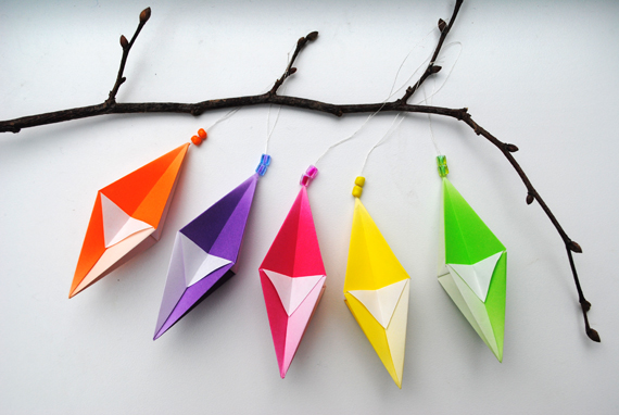 Origami hanging decorations