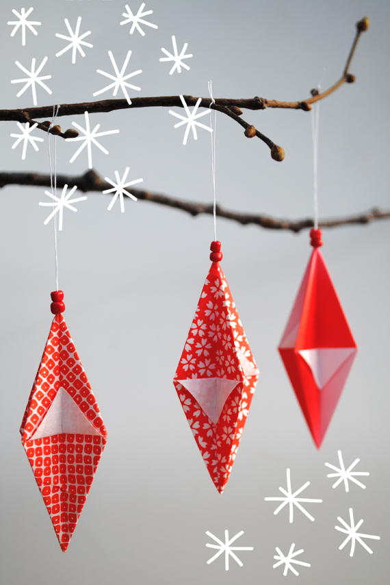Festive origami decorations