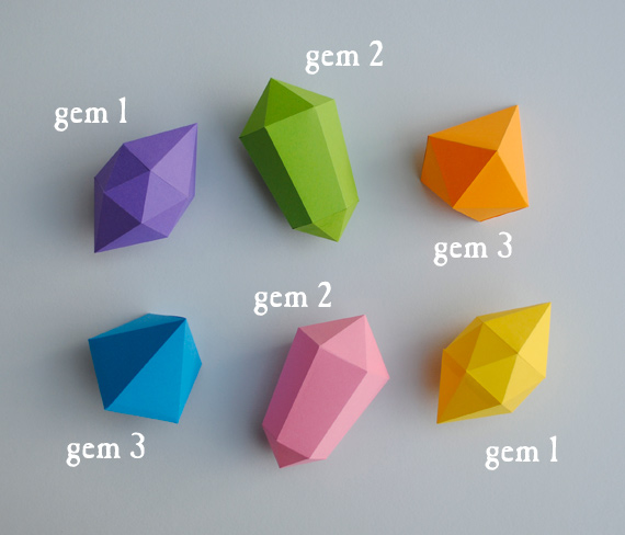 paper gems templates mini eco