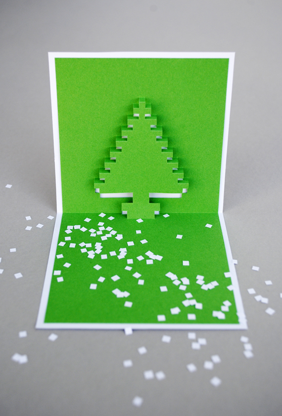 christmas pixel popup cards mini eco. Black Bedroom Furniture Sets. Home Design Ideas