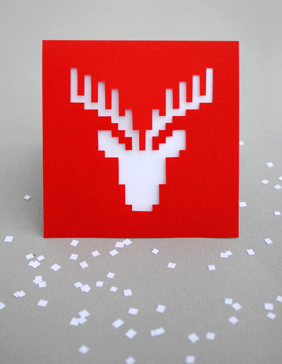 Christmas pixel papercut card
