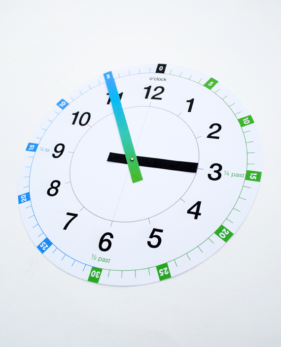 image relating to Free Printable Clock Template known as Printable understanding clock MINI ECO