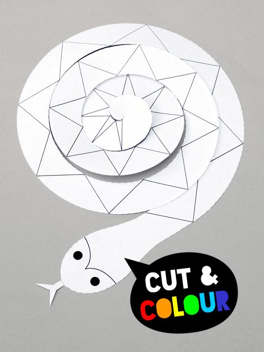 Cut + colour spiral paper snake | MINI ECO